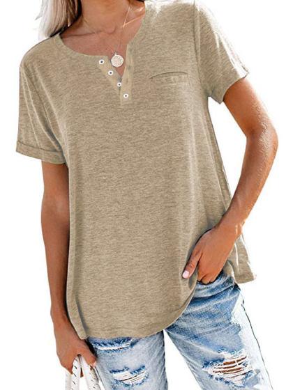 iQKA Womens Casual V Neck Sunflower T-Shirt Summer Short Sleeve Letter Print Loose Fit Cotton Tops Blouse